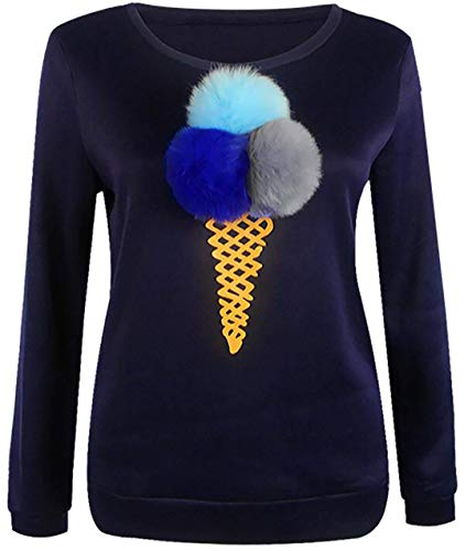 Babaseal Women 3D Ice Cream Cone Printed Long Sleeve Sweatshirts Tops Pullover (Color : Navy, Size : US Medium)