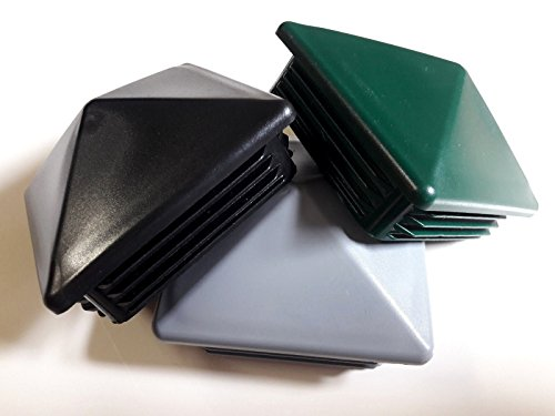 Lot de 10 bouchons pour tube en forme pyramide 15 x 15 mm / 20 x 20 mm / 40 x 40 mm / 50 x 50 mm / 60 x 60 mm / 70 x 70 mm / 80 x 80 mm / 100 x 100 mm - Noir, vert, gris