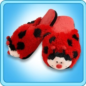 Pillow Pets Slippers - Mrs Lady Bug - Medium
