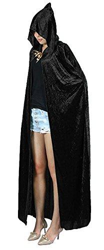 Urban CoCo Women's Costume Full Length Crushed Velvet Hooded Cape (Black)