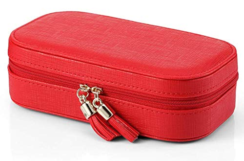 Vlando Small Tassels Travel Jewelry Box/Bag with Gift Packing Fabulous Girls Gift Case Red