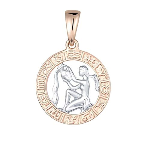 Zodiac Sign Gold Color Constellation Rose White Pendants Capricorn Gemini Twisted Necklace Chain Women Men Jewelry Accessories (Metal Color : Aquarius)