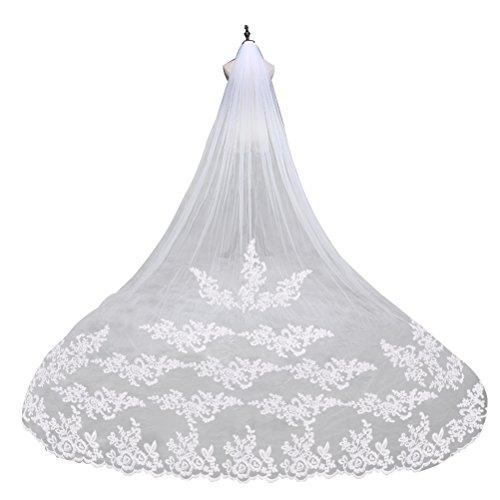Leorx - Velo de encaje bordado con peineta, para novia, 260cm de...