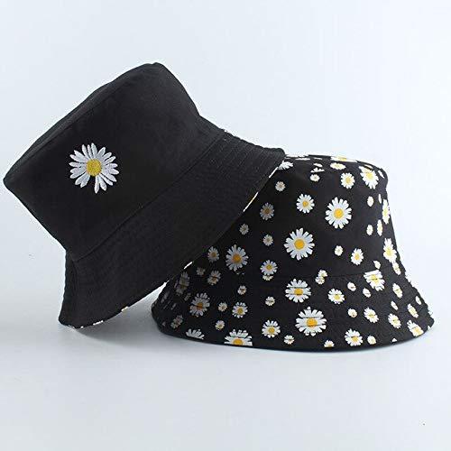 Mdsfe Sommer Gänseblümchen Eimer Hut weibliche Mode Baumwolle Strand Sonnenhut Blume Vanille Hut Fischer Hut - schwarz MJ