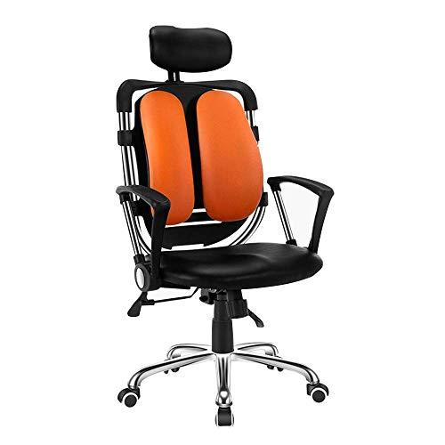 Leisurers ergonómica de Piel Juego Esports computadora de Oficina Jefe de elevación Rotarystable Apoyo for la Cabeza JIAJIAFUDR (Color : Black+Orange)
