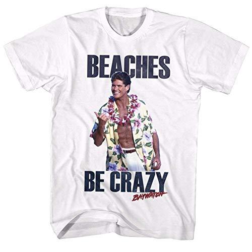 Baywatch Mitch Buchannon Beaches Be Crazy T-Shirt, White for Men