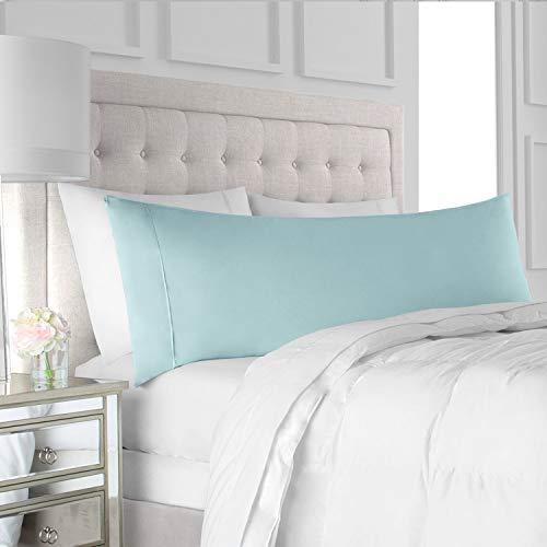 "Italian Luxury Body Pillow Cover - Soft, Allergy-Friendly Microfiber Pillow Case w/ No Zipper - Long Body Pillows for Adults - 21"" x 60"", Aqua"