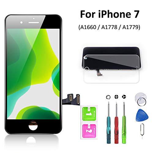 euskDE Kompatible mit iPhone 7 Display Schwarz Ersatz Set , LCD Ersatzbildschirm Front Komplettes Glas Digitizer mit Reparatur Werkzeuge Display Für iPhone 7