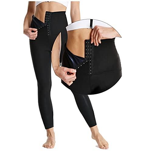 KUMADAI Leggings Deporte Mujer, Waist Trainer Doble Botonadura Alta Elasticidad Calentamiento Rápido Recubrimiento de Nano Plata Traje Sauna para Mujer Adelgazantes,Negro,2XLarge