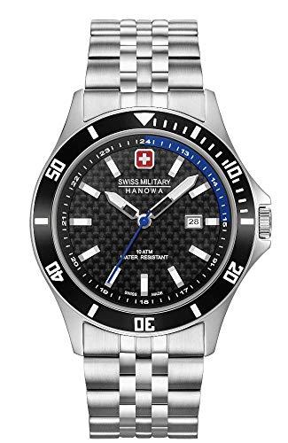 Swiss Military Hanowa Unisex Erwachsene Analog Quarz Uhr mit Edelstahl Armband 06-5161.2.04.007.03