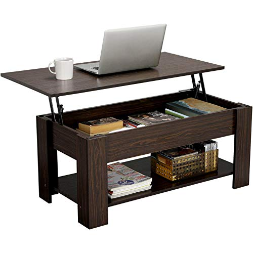 YAHEETECH Modern Lift Top Coffee Table with Hidden Compartment and