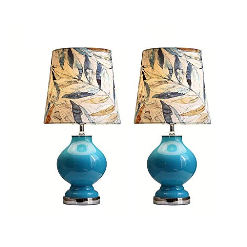 Lampara Mesa Mesita de noche Lámparas de cristal Bule mesita de noche Lámparas con tela impresa sombra de noche lámparas de escritorio for el dormitorio de cabecera Duradero (Quantity : 2)
