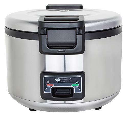 Beeketal 'BRK-10' Profi Gastro Reiskocher 24 Liter für bis zu 7,5 kg Reis (ca. 80-110 Portionen), Koch- und Warmhaltefunktion, antihaft Innentopf, Kondenswasserschale, inkl. Messbecher und Rührlöffel