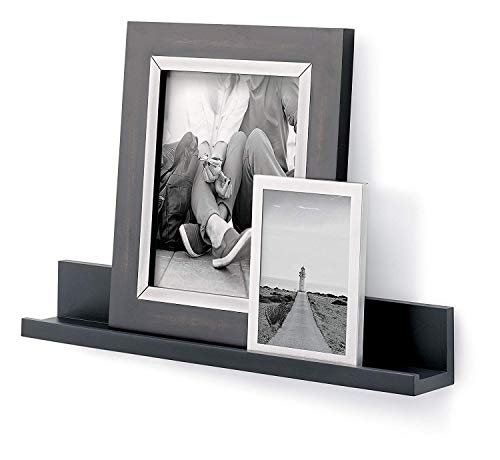 """Command Damage-Free Picture Floating Wall Shelf, Installs without Tools or Nails, Slate, 21"""" Floating décor Ledge holds 5 lbs (HOM21Q-ES)"""