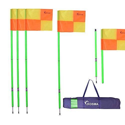 Kosma Faltbare Eckfahnen mit Dorne und Feder – grüner Mast 1,5 m x 25 mm mit gelben und orangen Viertelkreismuster, in Tragetasche, 4 Stück