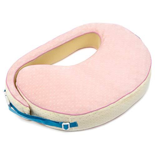 Vitabo amerikanisches Stillkissen mit Memory Schaum | ergonomisches Kissen zum Stillen | formstabiles Stillkissen zum Umschnallen | 55x40 cm (Rosa/Creme)