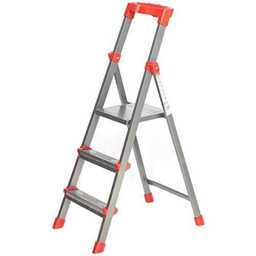 Nika Stehleiter Trittleiter 3 Stufen aus Stahl, klappbar, bis 150 kg belastbar