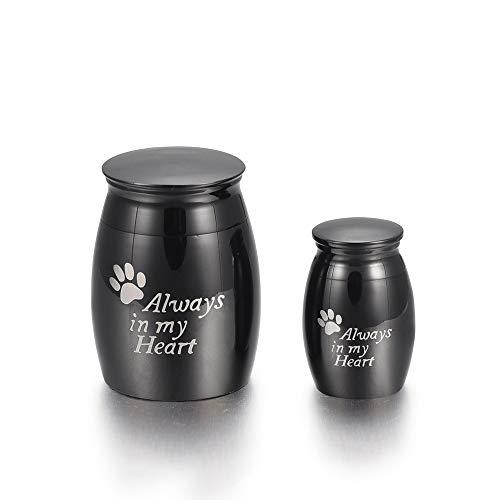 TIANZXS Urna para Cenizas de Perro/Gato con Estampado de Pata - Siempre en mi corazón Urna Conmemorativa Tarro de cremación para Cenizas de Animales Keepake Jewellery Small Black