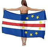 Women Girl Fashion Travel Shawl Wrap Summer Vacation Beach Towels Chiffon Scarf Bikini Beachwear Sarong Wrap Swimwear Cover Up (Flag of Cape Verde)