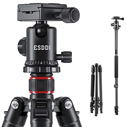 ESDDI Camera Tripod, DSLR Tripod with 360 Degree Ball Head, 64 inch Aluminum Tripod with Monopod 1/4 inch Quick Release Plate and Phone Holder for Vlog Travel and Work
