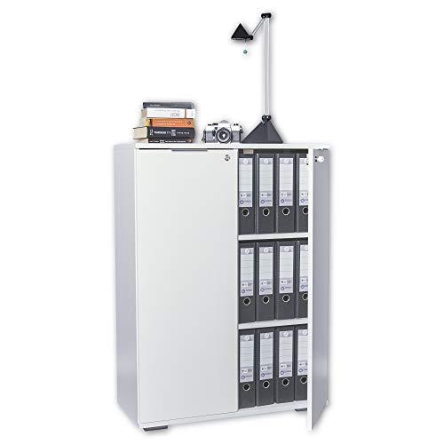 mutatio Ordnerschrank Abschließbar - Aktenschrank - Büro Möbel [Optimal Für Schwere Ordner] Büroschrank - Schrank Weiß, ca. B80,2cm x H109,5cm x T35cm   Kommode