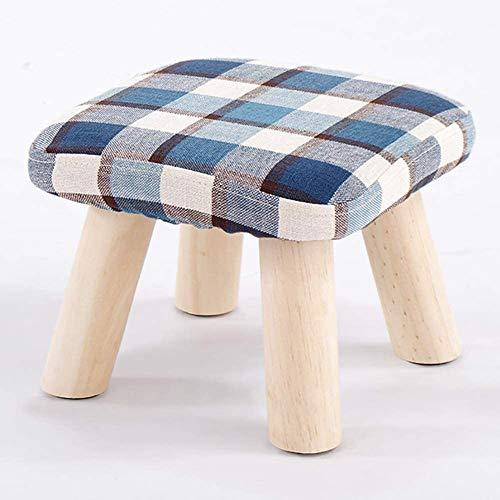 HKAFD Taburete otomano reposapiés puf reposapiés redondo tapizado puf acolchado puf madera maciza Foots asiento taburete banco zapatos taburete azul