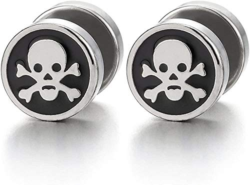 NC188 2pcs Steel Pirate Skull Circle Stud Earrings for Men Women Silver Black Cheater Fake Ear Plug Gauge