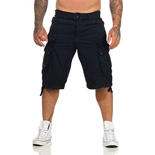 Geographical Norway PANORAMIQUE MEN - Bermuda Cotone Casual Shorts - Bermuda Sportivi Da Uomo Short - Bermuda Chino Traspiranti - Pantaloncini Corti Con Cintura Vestibilità Normale BLU MARINO M