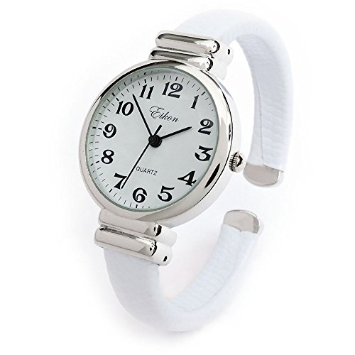 White Snake Style Band Slim Case Eikon Women's Bangle Cuff Watch