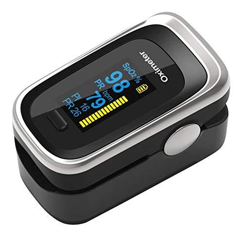 Oximetro portatil de dedo Saúde Medidor de dedo, pulso - pressão e Hemoglobina, Prateado