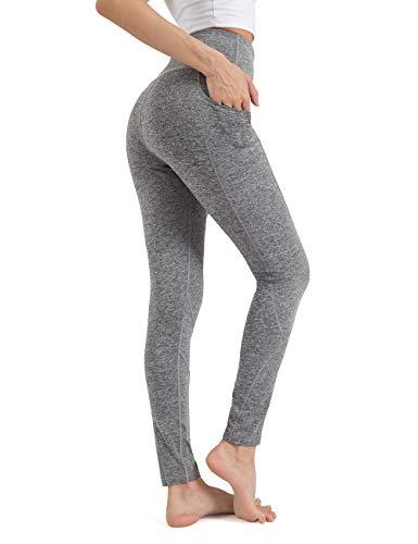 ALONG FIT Leggings Damen mit Taschen, Nicht durchsichtig Sporthose Damen Dehnbar Yogahosen für Damen, Hoch Tailliert-kohlengrau, M
