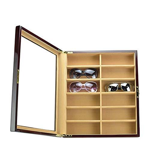 Decoración de muebles Estuche de gafas unisex Gafas de sol unisex con 12 rejillas Gafas de sol Caja de presentación de almacenamiento Almacenamiento de gafas Estuche portátil para gafas (Color: Tam