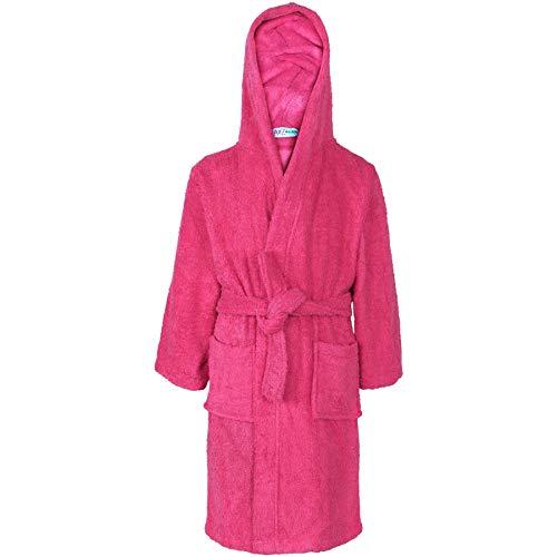A2Z 4 Kids Unisex Filles Garçons Gown Coton À Capuchon - Towel Bathrobe Pink 9-10