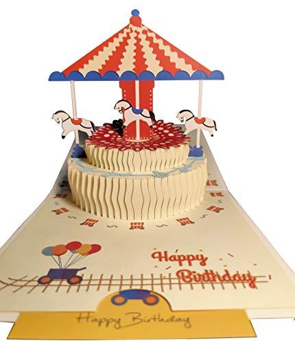 Fenyor7i Carousel Birthday Cake Pop Up Card - Happy Birthday Card For Kids, Cake Greeting Card, Pop Up Birthday Cards, 3D Cards, Pop Up Greeting Card, Birthday Pop Up Card, Greeting Card For Birthday.