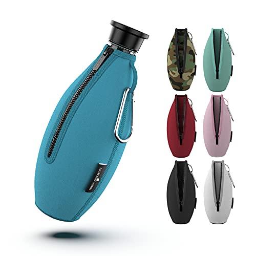 LICHTENWERK® Premium Schutzhülle kompatibel mit SodaStream Crystal Glaskaraffe [EXTRA KÜHLEFFEKT] - Bruchschutz Neopren Hülle für Glasflaschen - Ideales Zubehör für unterwegs (Blau)