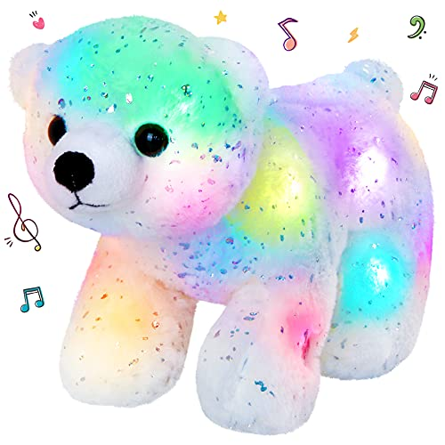 SpecialYou LED Musical Stuffed Animal White Polar Bear Soft Plush Toy Wildlife Bear with Light up Sing Songs Birthday Holiday for Kids, 7inches. -  TOY5094