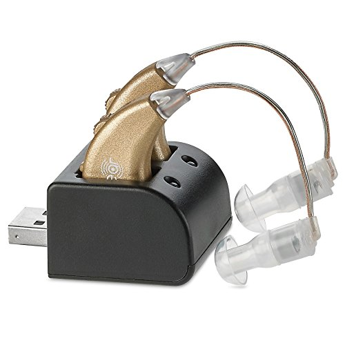 Digital Hearing Amplifiers - Rechargeable BTE Personal Sound Amplifier Pair with USB Dock - Premium Gold Behind The Ear Sound Amplification - by MEDca