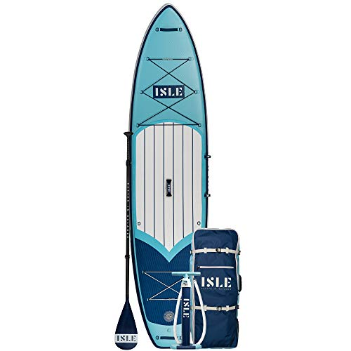ISLE Explorer Inflatable Stand Up Paddle Board & iSUP Bundle Accessory Pack — Durable, Lightweight with Stable Wide Stance — 300 Pound Capacity, 11'6