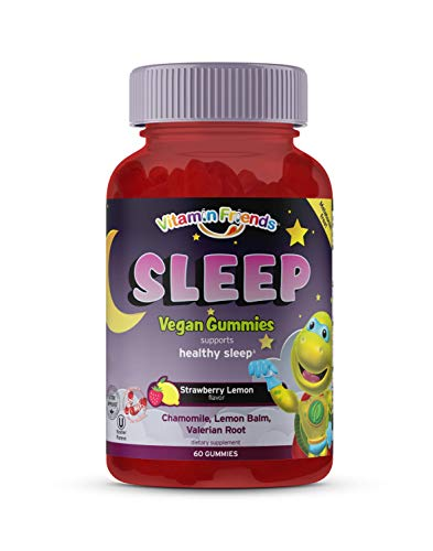 Vitamin Friends - Kids Sleep Gummy - MELATONIN Free - Chamomile, Lemon Balm, Valerian Root and Vitamin D2 -Natural Strawberry Lemon - 30 Day Supply