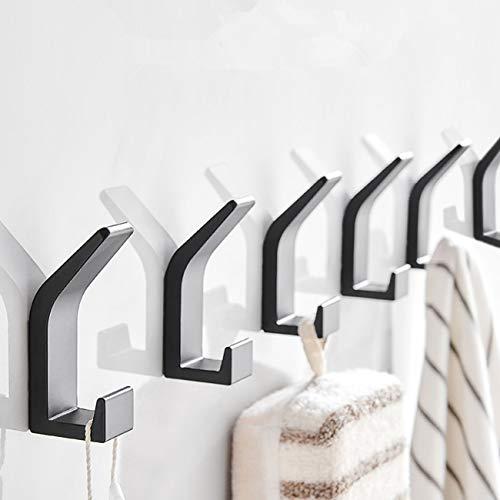 Adispotg Selbstklebende Haken, 6 Stück Aluminium Wandaufhänger für Bademantel Mantel Handtuch Schlüssel Taschen Zuhause Küche Bad, wasser und rostfrei, kein Bohrkleber erforderlich (matt-schwarz)