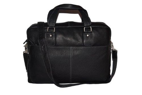 ''Stanford'' - Laptop Bag van CB, Echt leer, Zwart - ''LEAS Classic Bags''