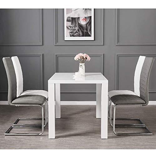 LWY Rechteck 120cm Weiß Hochglanz Esstisch 4-6 Sitz Esstisch mit 4er-Set Kunstleder Esszimmerstühle Hohe Rückenlehne Chrom Beine Stuhl Home Küchenmöbel