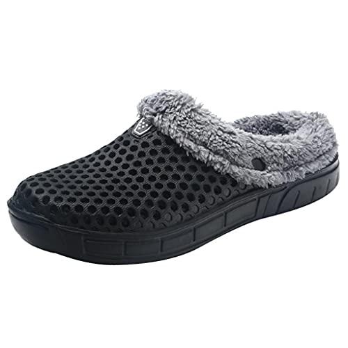 KLGR Zapatillas de estar por casa de peluche para hombre, pantuflas planas, suela suave, calentitas para invierno, forradas, zapatillas para hombre, para interior, antideslizantes., Negro , 43