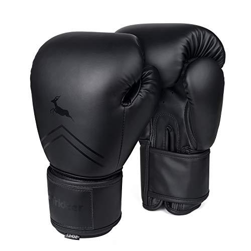 Trideer Pro Grade Boxing Gloves for Men & Women, Kickboxing Bagwork Gel Sparring Training Gloves, Muay Thai Style Punching Bag Mitts, Fight Gloves (Black, 8 oz)
