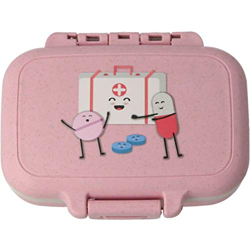 MovilCom® - Pastillero pequeño diario bolsillo | 3 compartimentos | Organizador de pastillas pill box estuche rectangular | Color rosa
