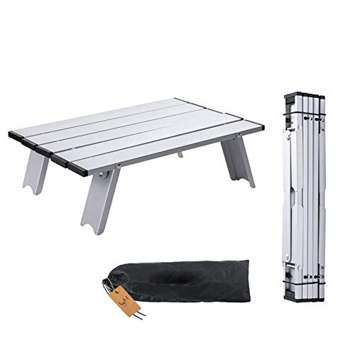 IvyH Folding Table, Roll Up Side Table Lightweight Aluminum Alloy Handy Small Table for Outdoor Camping, Picnic, Travel, Beach