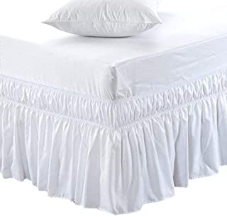 MEILA Bed Skirt Three Fabric Sides Elastic Wrap Around Dust Ruffled Solid Bed Skirts Easy On/Easy Off 16 Inch Tailored Drop, White, Twin/Full