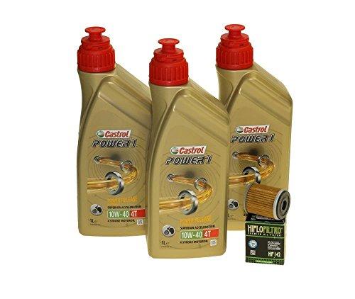 Öl Wechselset 3 Liter Castrol SAE 10W-40 Power 1 4T inkl. Ölfilter Hiflo HF142 für Yamaha YZ 250, YFM 350, WR 250, TM Racing 250, 450, 660