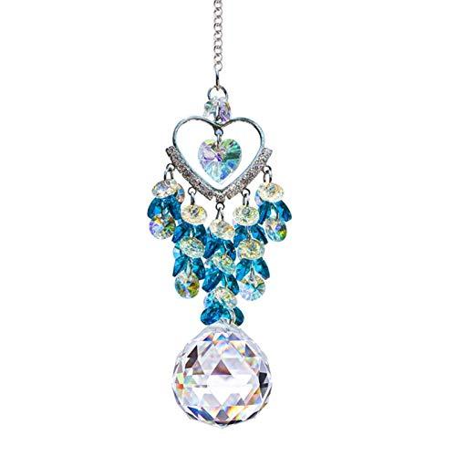 YSMLL Lindo Bling Corazón en Forma de Cristal SunCatcher Lucky Colgante Interior Ornamento Colgante Arco Iris Coche Vista Posterior Retrovisor Hermels Decoración