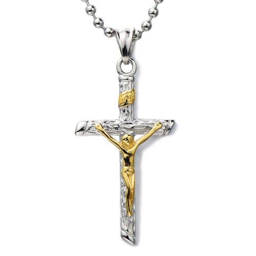 COOLSTEELANDBEYOND Crucifijo Cruz, Unisexo Collar con Colgante de Hombre Mujer, Cruce, Acero...